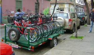 Carro de arrastre para 12 bicis Carro 4 x 3 dobe suspensi�n papeles.